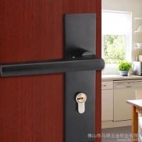 马牌锁业 美式豪华门锁哑光黑室内门锁不锈钢双舌门锁